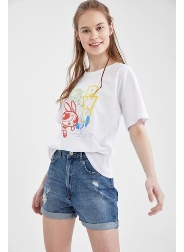 DeFacto PowerPuff Girls Lisanslı  Regular Fit Kısa Kol T-shirt Beyaz